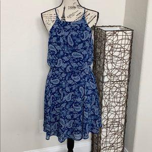 Blue paisley empire waist dress